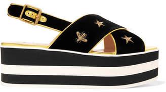 Gucci Peggy Leather-trimmed Embroidered Velvet Platform Sandals - Black