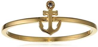 Shy by Sydney Evan Women's Yellow Gold Plated 925 Sterling Silver Diamond Bezel Anchor Ring - Size - L