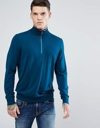 Paul Smith Merino Half Zip Sweater in Teal