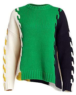 Monse Women's Patchwork Wool High-Low Sweater