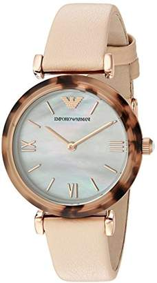 Emporio Armani Women's 'Gianni T-Bar' Quartz Plastic and Leather Casual Watch