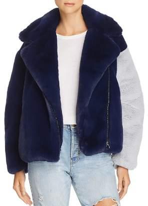 Heurueh Color-Block Faux-Fur Moto Jacket - 100% Exclusive