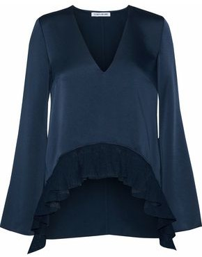 Elizabeth and James Pleated Crochet Knit-Paneled Satin Blouse