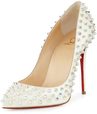 Christian Louboutin Follies Spike 100mm Red Sole Pump, White $1,295 thestylecure.com