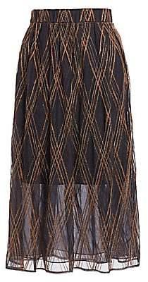 Brunello Cucinelli Women's Embroidered Silk Tulle Midi Skirt