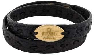 Fendi Selleria Leather Wrap Bracelet