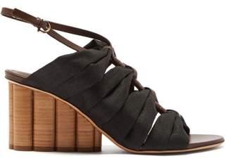 Salvatore Ferragamo Solki Column Heel Canvas Sandals - Womens - Black