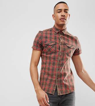 Asos Design DESIGN Tall stretch slim western check shirt with acid wash