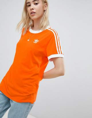 adidas 3 Stripe Ringer T-Shirt In Orange
