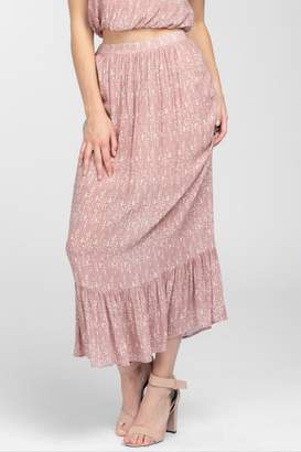 Everly Geo-Print Ruffle Maxi-Skirt