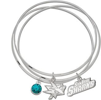 Logoart LogoArt San Jose Sharks Silver Tone Bangle Bracelet Set