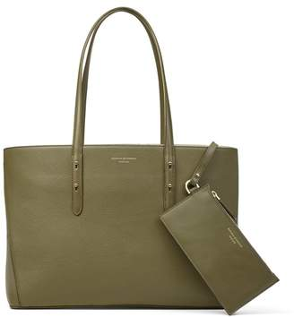 Aspinal of London Regent Tote In Olive Pebble With A-Stitched Side Panels
