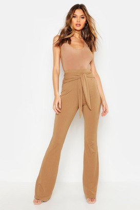 boohoo Tie Front Ribbed Wide Leg Pants