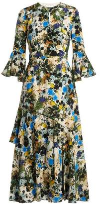 Erdem Florence Mariko Meadow Print Silk Dress - Womens - White Print