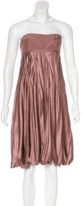 BCBGMAXAZRIA Runway Silk Pleated Midi Dress