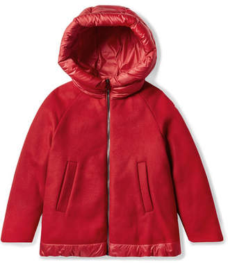 Moncler Ages 8 - 10 Mareva Hooded Wool-blend Felt And Quilted Shell Down Jacket
