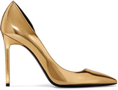 Saint Laurent - Anya D'orsay Metallic Patent-leather Pumps - Gold