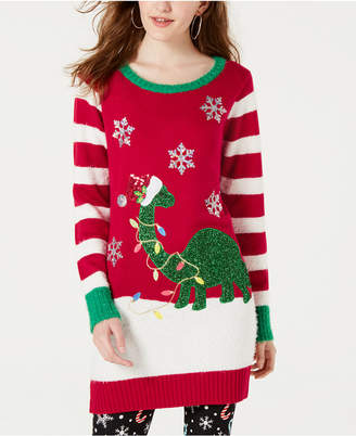 Hooked Up by Iot Juniors' Embellished Dinosaur Tunic Sweater
