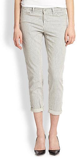 J Brand Terrace Striped Cropped Straight-Leg Jeans