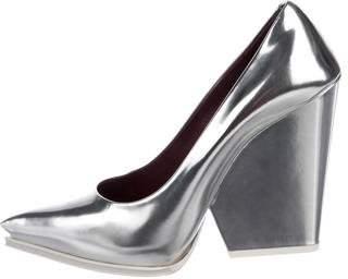 Celine Metallic Pointed-Toe Pumps