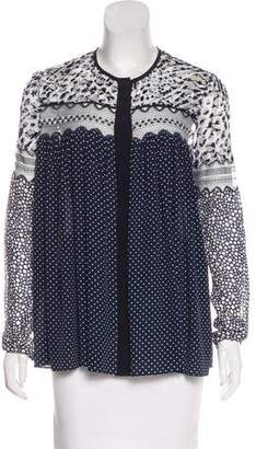Chloé Lace-Accented Silk Top