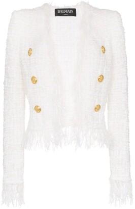 Balmain tweed shredded hem gold-tone button jacket