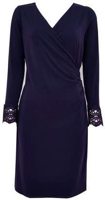 Wallis Navy Lace Cuff Wrap Dress