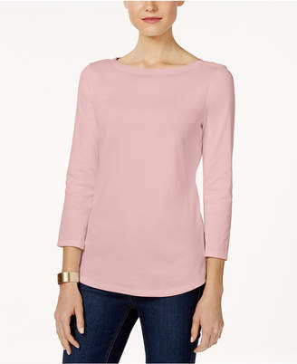 17f10facf97fe Charter Club Petite Pima Cotton Button-Shoulder Top