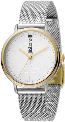 Just Cavalli 34mm CFC Two-Tone Stainless Steel Bracelet Watch w/ Mesh Strap, Multi