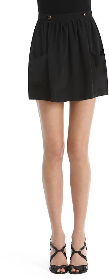 Aqua Silk Button-Tab Skirt