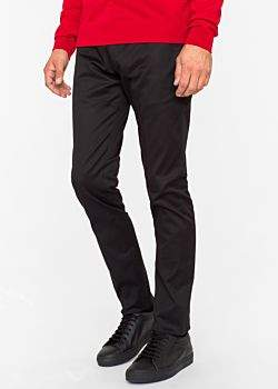 Paul Smith Men's Slim-Fit Black Stretch-Cotton Twill Pants
