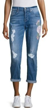 7 For All Mankind Josefina Embroidered Distressed Boyfriend Jeans $279 thestylecure.com