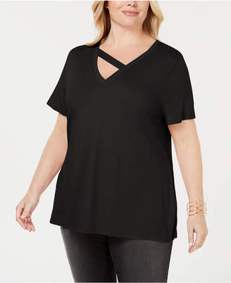 INC International Concepts I.n.c. Plus Size Strap-Neck T-Shirt