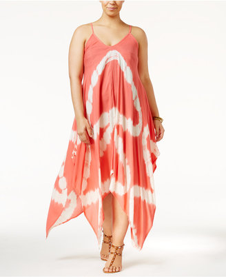 Raviya Plus Size Tie-Dye Handkerchief-Hem Cover-Up Dress Women's Swimsuit $58 thestylecure.com