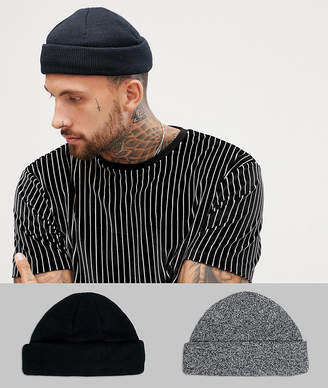 Asos Design DESIGN mini fisherman beanie 2 pack in black   twist recycled  polyester SAVE 2b8ea171665