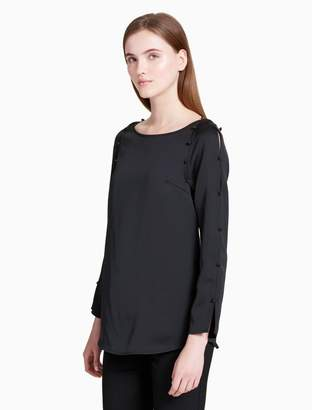 Calvin Klein button slit sleeve blouse