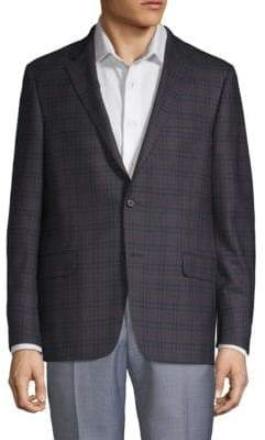 Hickey Freeman Classic Fit Plaid Wool Jacket