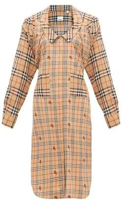 Burberry Patchwork House Check Silk Shirtdress - Womens - Beige Multi