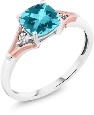 Swarovski Gem Stone King Paraiba and Diamond 10K Two-Tone Gold Ring Natural Topaz Cut