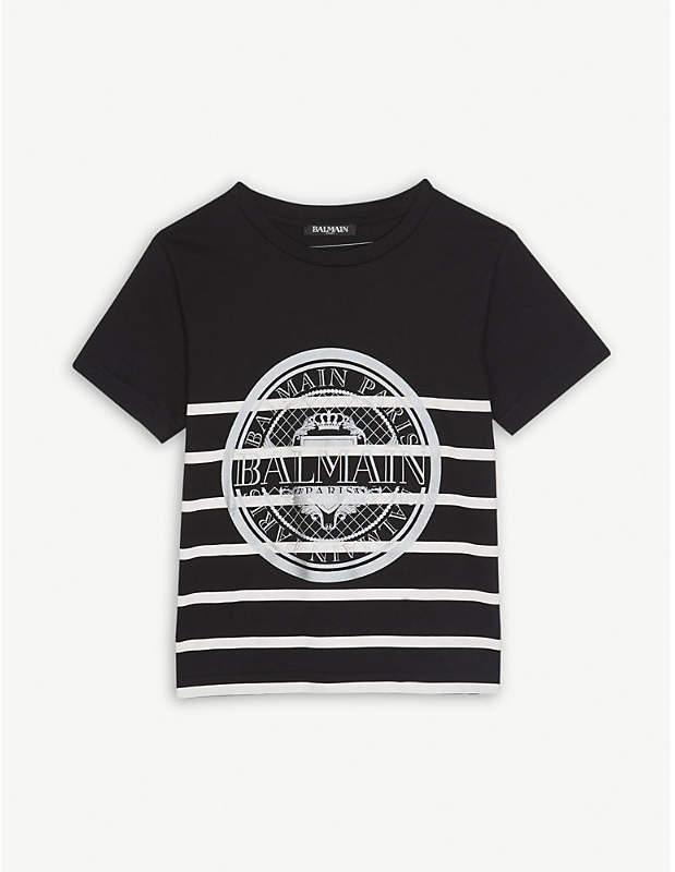 Striped medallion print cotton T-shirt 6-14 years
