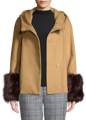Laundry by Shelli Segal Cowl-Neck Jacket with Faux-Fur Cuffs
