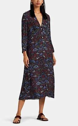 Raquel Allegra Women's Camille Tapestry-Print Silk Dress - Black