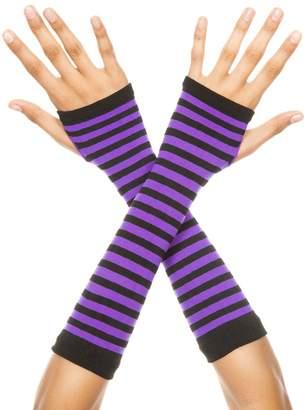 Music Legs 422-BLACK-PURPLE Opaque Stripes Arm Warmer, Black & Purple