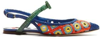 Dolce & Gabbana Majolica Woven Wicker Slingback Pumps - Womens - Blue Multi