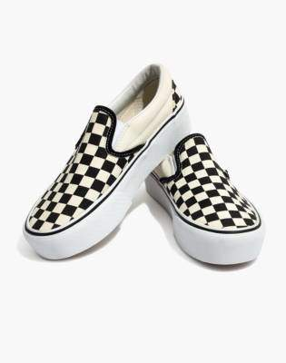 Madewell Vans Unisex Classic Slip-On Platform Sneakers in Checkerboard Canvas