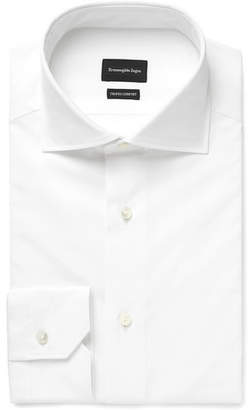Ermenegildo Zegna White Slim-Fit Cutaway-Collar Cotton-Poplin Shirt
