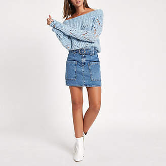 River Island Womens Mid Blue belted denim mini skirt