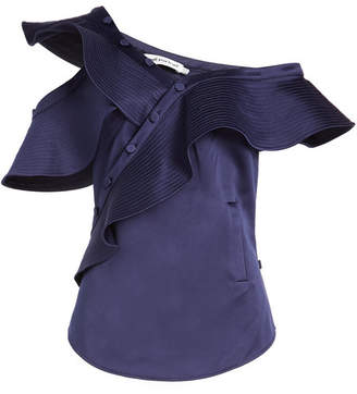 Self-Portrait Satin Top with Ruffles