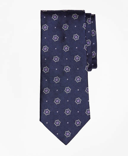 Brooks Brothers  Parquet Ground Flower and Square Tie