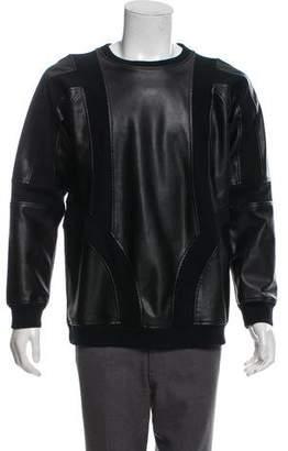 KITH Vegan Leather-Trimmed Sweatshirt